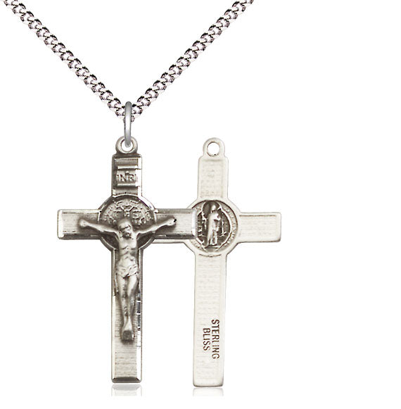 Bliss Medium Sterling Silver Patron St Benedict Crucifix Pendant Necklace w/24
