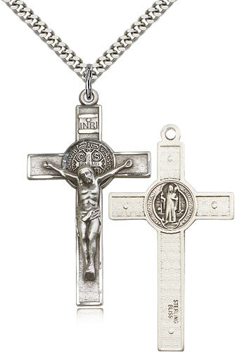 Bliss Large Sterling Silver Patron St Benedict Crucifix Pendant Necklace w/24