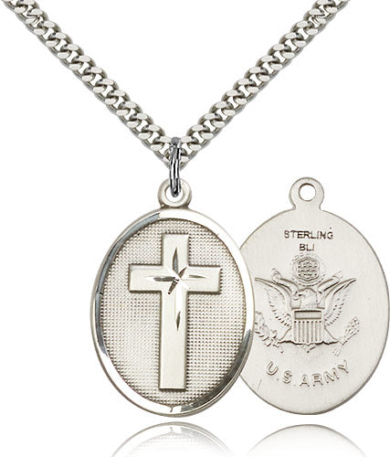 Army Christian Cross Sterling Silver Religious Medal Necklace by Bliss Mfg