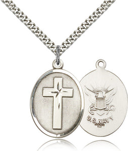 Navy Christian Cross Sterling Silver Religious Medal Necklace by Bliss Mfg
