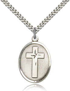 Oval Christian Cross Sterling Silver Religious Medal Necklace by Bliss Mfg