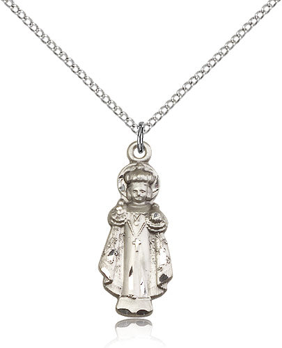 Bliss Jesus Infant of Prague Figure Shaped Sterling Silver Pendant Necklace w/Chain