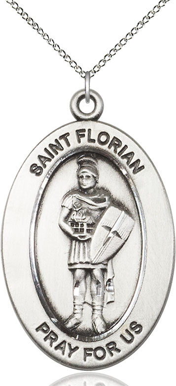 Bliss Manufacturing Oval St Florian Pendant Necklace w/18in Chain