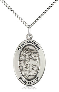 Bliss Manufacturing Oval St Michael the Archangel Pendant Necklace w/18in Chain