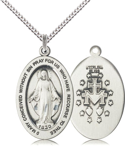 Bliss Manufacturing Oval Miraculous Medal Pendant Necklace w/18in Chain