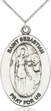 Bliss Manufacturing Oval St Sebastian Pendant Necklace w/18in Chain
