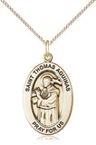 Bliss Manufacturing Oval St Thomas Aquinas Pendant Necklace w/18in Chain