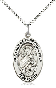 Bliss Manufacturing Oval Our Lady of Perpetual Help Pendant Necklace w/18in Chain