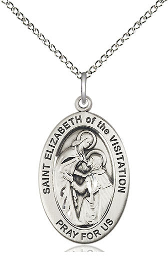 Bliss Manufacturing Oval St Elizabeth of the Visitation Pendant Necklace w/18in Chain