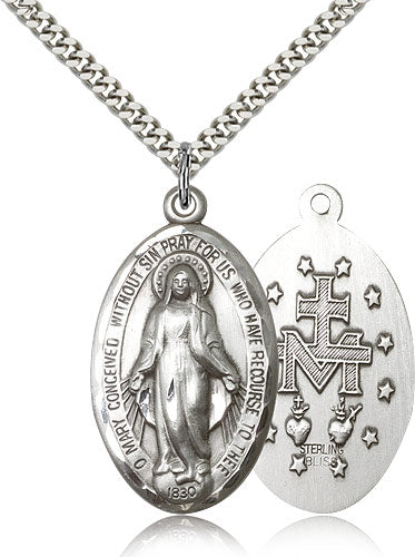 Bliss Manufacturing Miraculous Medal Sterling Silver Pendant Necklace w/24