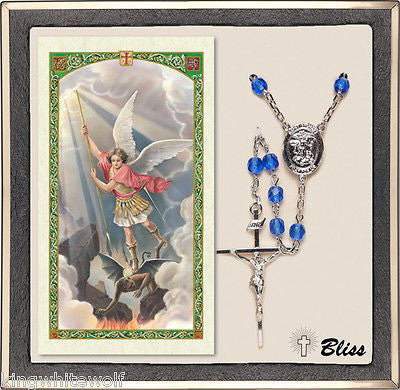Bliss Military Natioanal Guard St Michael Sapphire Crystal Rosary & Prayer Card
