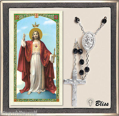 Bliss US Navy St Michael Military Black Crystal Silver Rosary & Prayer Card