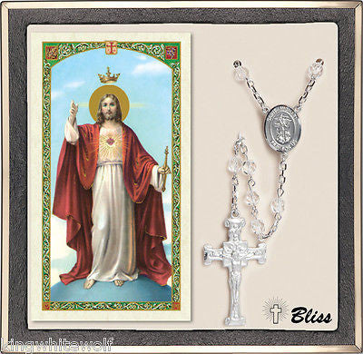 Bliss National Guard St Michael Military Crystal Silver Rosary & Prayer Card