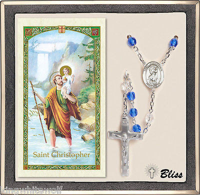 Bliss St Christopher Patron Saint Crystal Silver Plated Rosary & Prayer Card