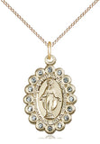 Bliss Mfg Birthstone Medium Miraculous Medal March Aqua Swarovski Crystal Pendant Necklaces