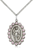 Bliss Mfg Birthstone Medium Miraculous Medal June Lt Amethyst Swarovski Crystal Pendant Necklaces