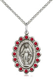 Bliss Mfg Birthstone Medium Miraculous Medal July Ruby Swarovski Crystal Pendant Necklaces