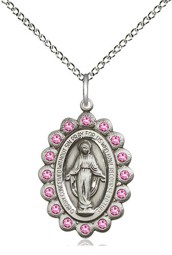 Bliss Mfg Birthstone Medium Miraculous Medal October Rose Swarovski Crystal Pendant Necklaces