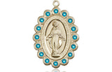 Bliss Mfg Birthstone Medium Miraculous Medal December Zircon Swarovski Crystal Pendant Necklaces