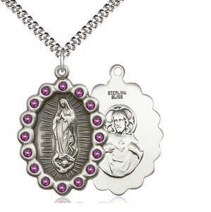 Bliss Mfg Birthstone Our Lady of Guadalupe February Amethyst Swarovski Crystal Pendant Necklaces