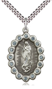 Bliss Mfg Birthstone Our Lady of Guadalupe March Aqua Swarovski Crystal Pendant Necklaces