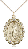 Bliss Mfg Birthstone Our Lady of Guadalupe April Swarovski Crystal Pendant Necklaces