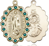 Bliss Mfg Birthstone Our Lady of Guadalupe May Emerald Swarovski Crystal Pendant Necklaces