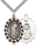 Bliss Mfg Birthstone Our Lady of Guadalupe January Garnet Swarovski Crystal Pendant Necklaces