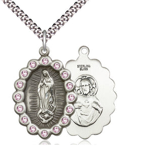 Bliss Mfg Birthstone Our Lady of Guadalupe June Lt Amethyst Swarovski Crystal Pendant Necklaces