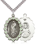 Bliss Mfg Birthstone Our Lady of Guadalupe August Peridot Swarovski Crystal Pendant Necklaces