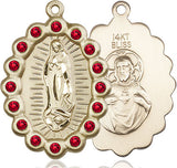 Bliss Mfg Birthstone Our Lady of Guadalupe July Ruby Swarovski Crystal Pendant Necklaces