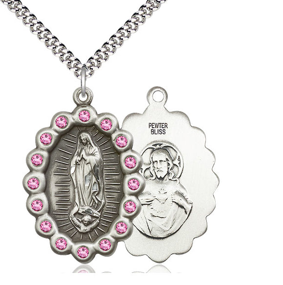 Bliss Mfg Birthstone Our Lady of Guadalupe October Rose Swarovski Crystal Pendant Necklaces