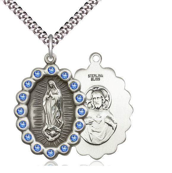 Bliss Mfg Birthstone Our Lady of Guadalupe September Sapphire Swarovski Crystal Pendant Necklaces