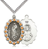 Bliss Mfg Birthstone Our Lady of Guadalupe November Topaz Swarovski Crystal Pendant Necklaces