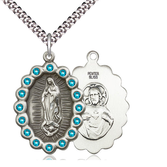 Bliss Mfg Birthstone Our Lady of Guadalupe December Zircon Swarovski Crystal Pendant Necklaces