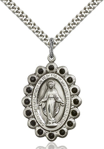 Bliss Manufacturing Miraculous Medal Jet Black Swarovski Crystal Pendant Necklaces