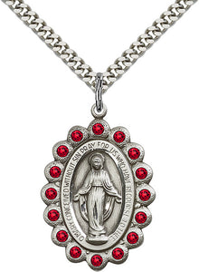 Bliss Mfg Birthstone July Ruby Swarovski Crystal Miraculous Medal Pendant Necklaces