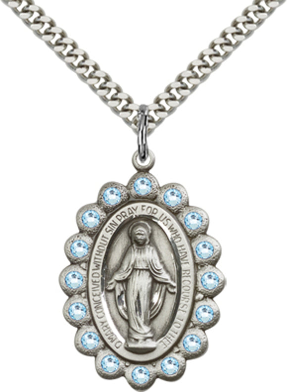 Bliss Mfg Birthstone Miraculous Medal March Aqua Swarovski Crystal Pendant Necklaces