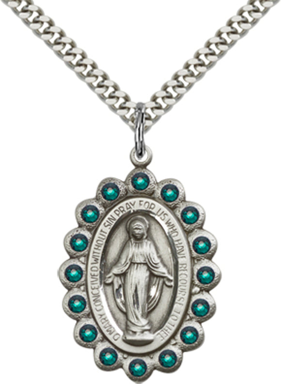 Bliss Manufacturing Birthstone Miraculous Medal May Emerald Swarovski Crystal Pendant Necklaces