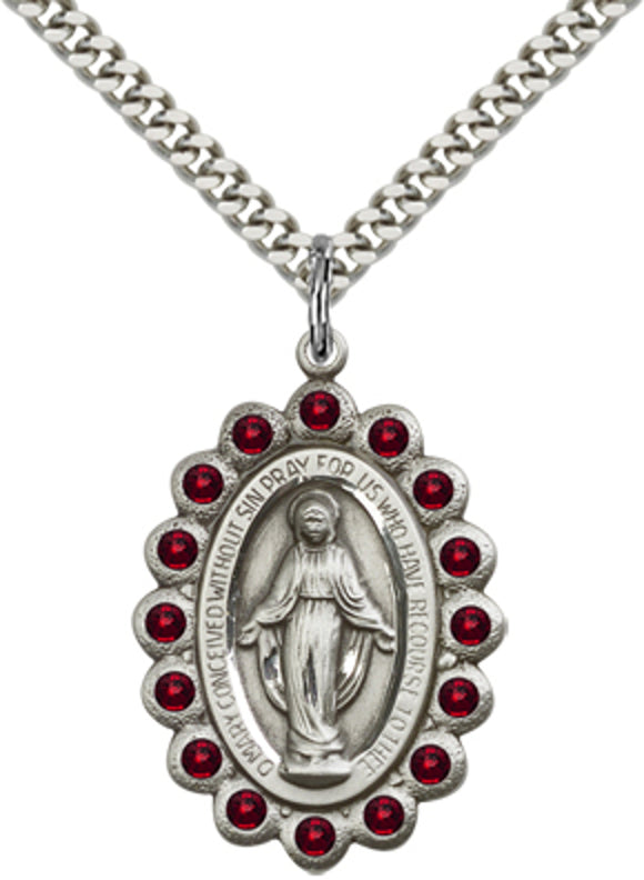 Bliss Mfg Birthstone Miraculous Medal January Garnet Swarovski Crystal Pendant Necklaces