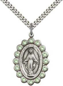 Bliss Mfg Birthstone Miraculous Medal August Peridot Swarovski Crystal Pendant Necklaces