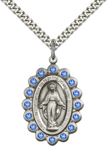 Bliss Manufacturing Birthstone Miraculous Medal September Sapphire Swarovski Crystal Pendant Necklaces