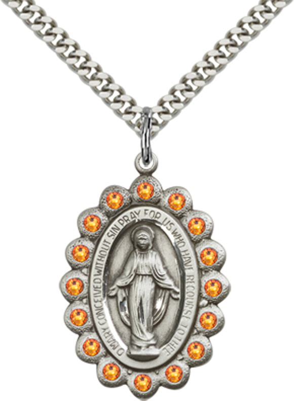 Bliss Manufacturing Birthstone Miraculous Medal November Topaz Swarovski Crystal Pendant Necklaces