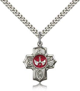 "Red Epoxy 5-Way Holy Spirit Dove Sterling Silver Cross Medal Pendant Necklace w/24"" Chain"