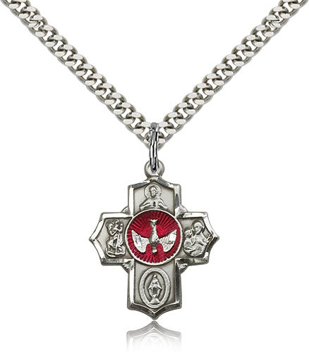 Red Epoxy 5-Way Holy Spirit Dove Sterling Silver Cross Medal Pendant Necklace w/24