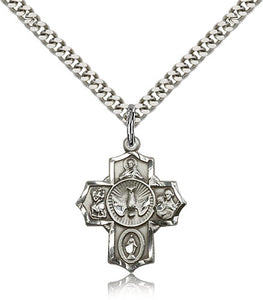 "5-Way Holy Spirit Dove Sterling Silver Cross Medal Pendant Necklace w/24"" Chain"