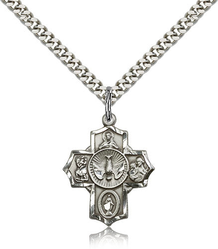 5-Way Holy Spirit Dove Sterling Silver Cross Medal Pendant Necklace w/24