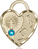 Bliss Heart Footprint in the Sand w/Cross December Zircon Birthstone Pendant Necklace