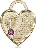 Bliss Heart Footprint in the Sand w/Cross February Amethyst Birthstone Pendant Necklace