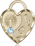 Bliss Heart Shaped Footprint in the Sand w/Cross March Aqua Birthstone Swarovski Crystal Pendant Necklace